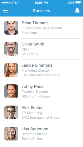 Event App Speakers Feature